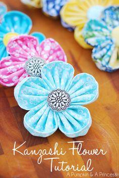 How to make fabric kanzashi flowers