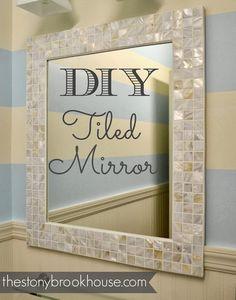 The Stonybrook House: How-To Make A Custom Tiled Mirror mirrors, houses, custom tile, stonybrook hous, diy tile, bathroom mirror, tile mirror, mirrored tiles crafts, decor idea