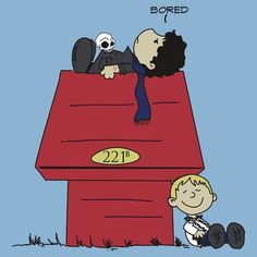 What you get when you mix Sherlock & Watson with Snoopy.      (via http://theprivatelifeofsherlockholmes.tumblr.com/post/18626670428/peanuts-sherlock)