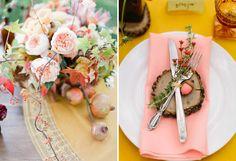 autumn pink, color combo, pink acorn, autumn weddings, place set, pink place, flower, blush, parti