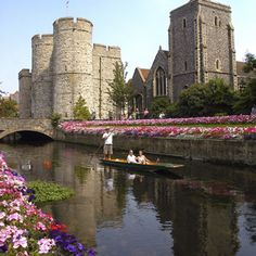 The River Stour and the Westgate in Canterbury, England
