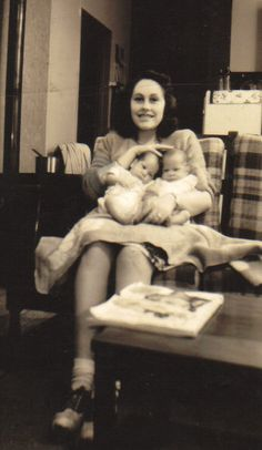 This photo of my Grandmother is one of my favorite possessions. It was taken in 1946, just after WWII. I love the innocence on her face as she clutches her twin sons, (my Dad & uncle!) Photography is such a wonderful bridge to our past, and as I prepare to embark on my own journey into motherhood, I am blessed to be able to recall this image of my Gram, who went on to birth 11 more beautiful babies!
