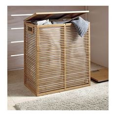 Bamboo Hamper with Liner in Bath Accessories