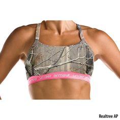 under armor camo sports bra. love the pink