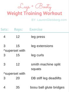 Legs & Booty Weight Training Workout for Women | Visit LaurenGleisberg.com for daily workouts, healthy recipes, motivation & more