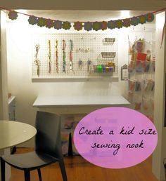 kids sewing nook