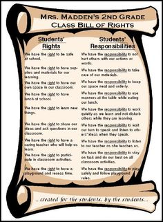 Students rights and responsibility poster and banking system for classroom behavior management.