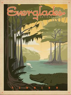 Vintage travel poster - Everglades