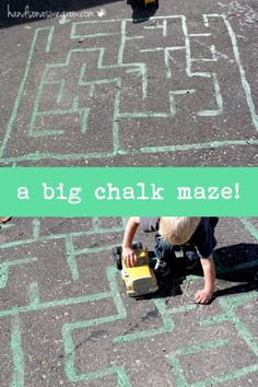 So fun and easy! Make a big chalk maze.