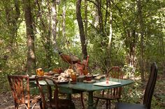 Woodland Setting. A few seats and a simple setting will have every baby shower guest feeling one with nature.