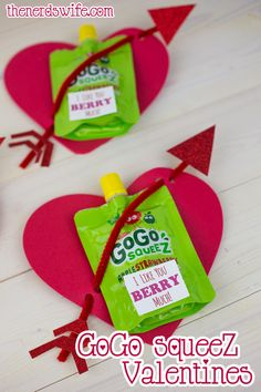 """Handmade Valentine: I Like You """"Berry"""" Much using GoGo squeeZ applesauce pouches! Perfect Valentine's Day treat for preschoolers. #GoGoPlayfully"""