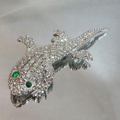 Vintage Lizard Brooch. Large. Silver Tone. Clear Green by waalaa, $31.99