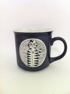 Vintage Cat Mug  Gray Mod Cat Mug  Striped Cat Mug by Comforte, $9.00