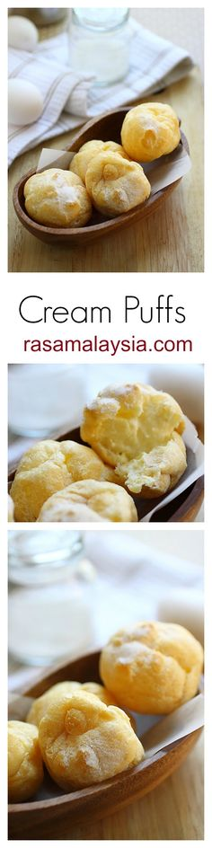 Cream puffs. Fluffy choux pastry filled with creamy custard, so good. You've got to make these cream puffs | rasamalaysia.com