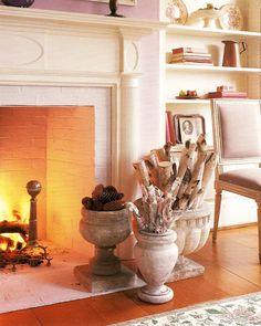 Urns filled for fireplace use.