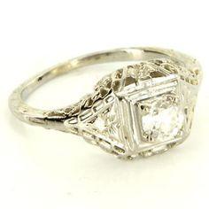 Antique Art Deco 18 Karat White Gold Diamond Filigree Engagement Ring Vintage $995