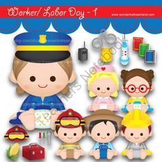 Instant Download Printable Clipart Clip Art Digital PDF PNG File Labor Worker Day My Baby Boy Girl 1 from Wonderful Dreamland on TeachersNotebook.com -  (19 pages)  - baby boy, baby girl, teacher, nurse, fireman, farmer, technician, police woman
