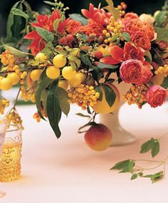 #Urn with #fruit and #flowers