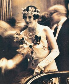 Lady Londonderry wearing a pearl tiara