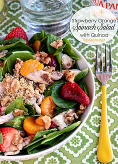 Strawberry Orange Spinach Salad with Quinoa