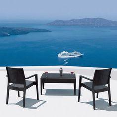 Compamia 3-Piece Miami White Resin Patio Conversation Sets