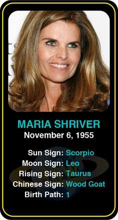 Celeb #Scorpio birthdays: Maria Shriver's astrology info! Sign up here to see more: https://www.astroconnects.com/galleries/celeb-birthday-gallery/scorpio?start=60  #astrology #horoscope #zodiac #birthchart #natalchart #mariashriver