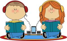 Kids listening to books from MyCuteGraphics graphic, clipart, clip artschool, school kids, kid listen