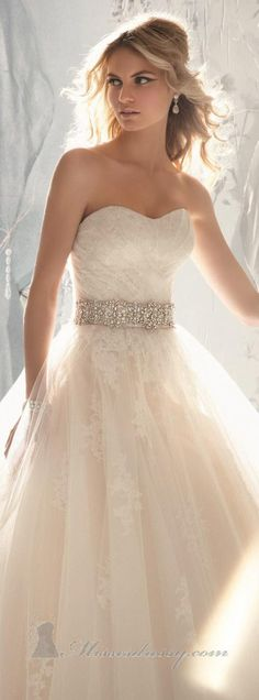 Embellished Pleated Strapless Gown by Bridal by Mori Lee