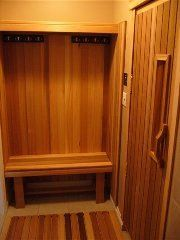 Basement sauna on pinterest saunas construction and benches for Building a sauna in the basement
