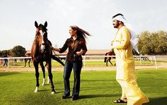Dubai — His Highness Sheikh Mohammed bin Rashid Al Maktoum with junior wife, Her Highness Princess Haya bint Al-Hussein of Jordan, and the colt, truly Royal. ♥ REPIN, LIKE, COMMENT & SHARE! ♥