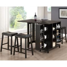 MUST HAVE......Aurora 5-Piece Dark Brown Modern Pub Table Set with Cabinet Base | Overstock.com