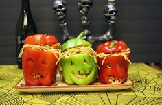 Stuffed peppers for Halloween