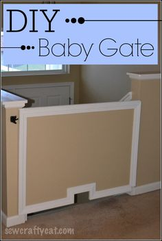 DIY Baby Gate | SewCraftyCat.com  Baby gate made of plywood on hinges to use at the top of stairs. #DIY #Baby