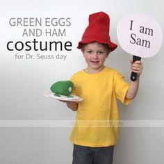 """#DIY #homemade #costume - """"I am Sam"""" from Dr. #Seuss' Green Eggs and Ham - super easy!"""