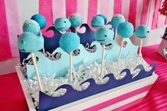 Cute whale cake pops! #cakepops #whale