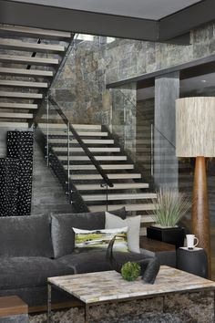 living rooms, stairs, living spaces, design interiors, stone walls, hous, chalet, stones, mountain homes
