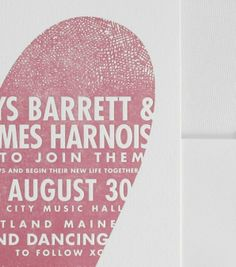 Our Thatched Heart invitation is shown in detail here, letterpress printed in peony ink.