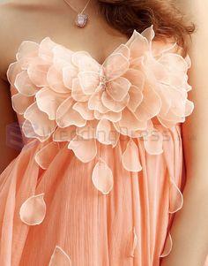 Coral silk dress embellishment