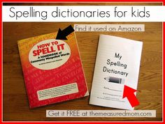 Where to find spelling dictionaries for kids!  Print a free dictionary with picture prompts perfect for early writers in preschool and kindergarten