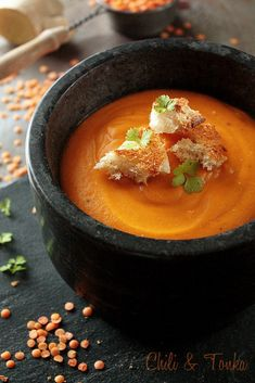 Tomato soup with red lentils and coconut milk