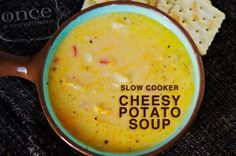 Slow Cooker Cheesy Potato Soup.... With simple easy assembly on prep day and slow cooker on cook day – it can't get any simpler than this!