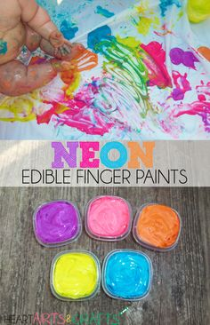Neon Edible Finger Paints | Baby & Toddler Safe! Only two ingredients #Baby #Sensory #Edible #toddler --> love this from @KSORGIUS