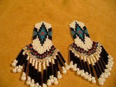 Native American inspired White,black,blue earrings   beadlady61 - Jewelry on ArtFire #onfireteam #lacwe #jewelry #earrings