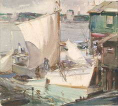 'Boats at Dock, Rockport', by James Milton Sessions.  (1882-1962)