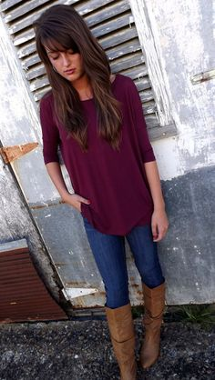 Burgundy 3/4 Sleeve Piko - love the outfit and the hair