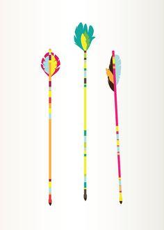 Arrows Art Print, Colorful Illustration