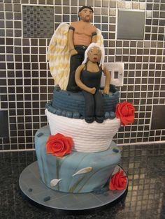 Archangel Raphael and hunter Elena from the Guild Hunters series by Nalini Singh - in cake form!