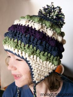 Bobble Poof Crochet Earflap Hat - free pattern for both kid's and adult sizes