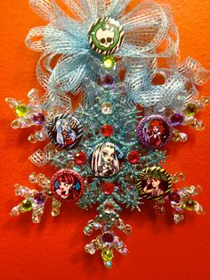 MONSTER HIGH Snowflake Christmas Ornament Ghoulia Yelps, Frankie Stein, Deuce Gorgon, Operetta, Draculaura. $12.99, via Etsy.