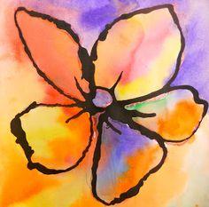 Watercolor, black glue outline.